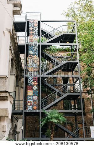 Madrid, Spain - September 30, 2017: Staircase in the courtyard of the IED Madrid. It is a Centre for Higher Education in Design