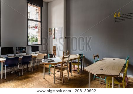 Madrid, Spain - September 30, 2017: Interior view of library of the IED Madrid. It is a Centre for Higher Education in Design
