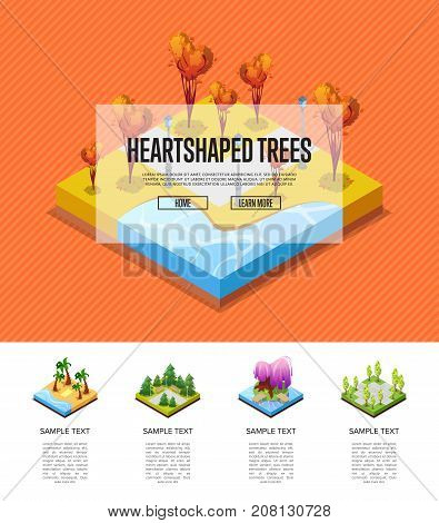 Park zone with heart shaped trees isometric infographics. Flower bed, palm trees on beach, lawn with green grass, roads and benches. Public park zone with decorative plants vector illustration