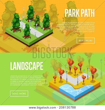 Natural parkland landscape design isometric posters. Heart shaped trees, field with green grass and trees, park path and benches. Public park zone with decorative plants vector illustration