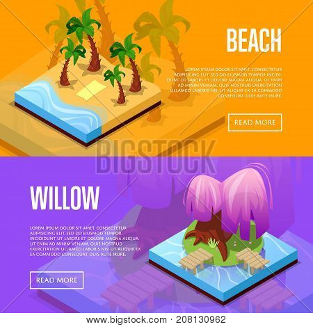 Park design isometric posters. Palm trees on beach, island with green grass and purple willow. Public parkland zone landscape with decorative plants, outdoor natural recreation vector illustration.