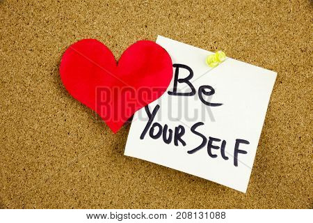 A Yellow Sticky Note Writing, Caption, Inscription Be Your Best Self - Positive Words On A Slate Bla