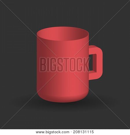 Red three dimensional cup on a black background