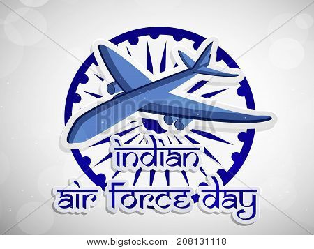 illustration of Aircraft on wheel background with Indian Air Force Day text on the occasion of Indian Air Force Day