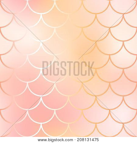 Rose gold mermaid seamless pattern. Fantastic fish scale vector pattern. Colorful mermaid tail background. Fish skin texture in gold and pink. Shiny mermaid skin surface. Golden wedding template