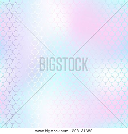 Pastel pink mermaid seamless pattern. Fantastic fish scale vector pattern. Colorful mermaid tail background. Wedding template