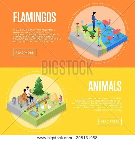 Public zoo with wild animals and visitors isometric 3D posters set. People near flamingos and rabbits in cages. Zoo infrastructure elements for landscape design, outdoor recreation vector illustration