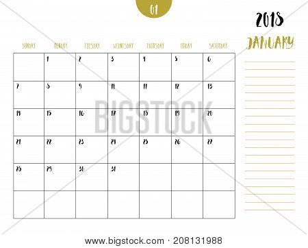 Vector Of Calendar 2018 ( January ) In Simple Clean Table Style With Note Line In Earth Tone Color T