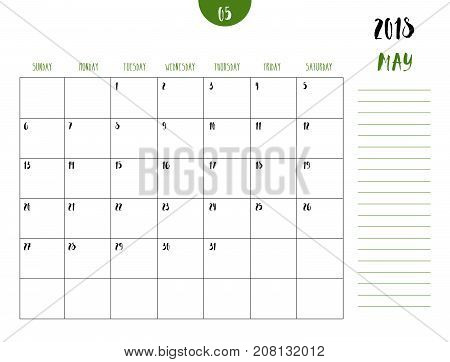 Vector Of Calendar 2018 ( May ) In Simple Clean Table Style With Note Line In Earth Tone Color Theme