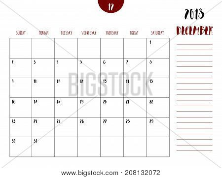 Vector Of Calendar 2018 ( December ) In Simple Clean Table Style With Note Line In Earth Tone Color