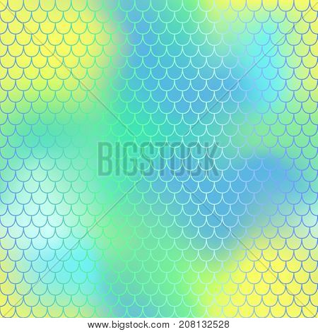 Fantastic yellow blue fish skin vector pattern. Mermaid seamless pattern. Fish scale vector pattern. Mermaid tail background. Fish skin texture in pastel colors. Mermaid skin surface. Wedding pattern