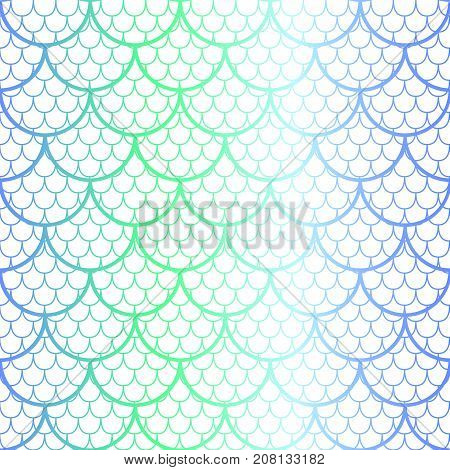 Fantastic fish scale vector pattern. Mermaid tail scale seamless pattern. Fishscale lace on white background. Blue and green gradient fish skin seamless pattern. Shiny mermaid scale pattern swatch