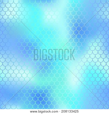 Fantastic ice blue fish skin vector pattern. Mermaid seamless pattern. Fish scale vector pattern. Fish skin texture in pastel colors. Mermaid skin surface. Wedding pattern