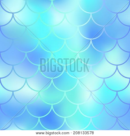 Fantastic blue mint fish skin vector pattern. Mermaid seamless pattern. Fish scale vector pattern. Mermaid tail background. Fish skin texture in pastel colors. Mermaid skin surface. Wedding pattern