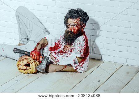 Halloween Psychopath Bleeding In Torn Tshirt