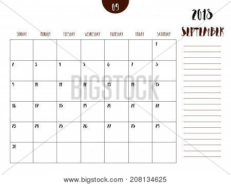Vector Of Calendar 2018 ( September ) In Simple Clean Table Style With Note Line In Earth Tone Color