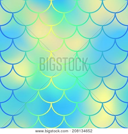 Yellow blue fish scale pattern with colorful mesh vector background. Mermaid seamless pattern vector background. Mermaid seamless pattern. Aquatic surface design. Smooth color mesh. Neon fishscale