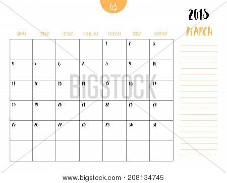 Vector Of Calendar 2018 ( March ) In Simple Clean Table Style With Note Line In Earth Tone Color The