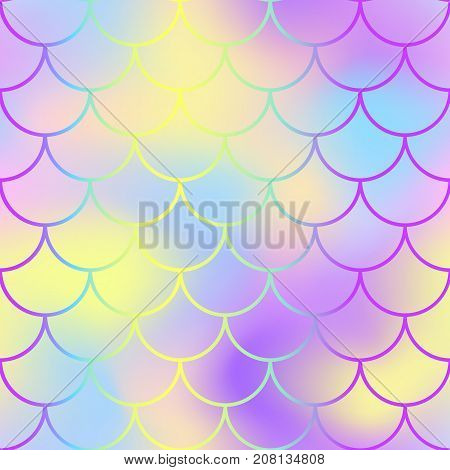 Fish scale pattern with active color mesh background. Mermaid vector seamless pattern. Aquatic surface design. Smooth color mesh tile. Marine animal skin ornament. Aquatic pattern. Magic mermaid tail
