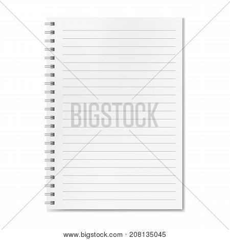 Blank realistic vector horizontal lined notebook with shadow. Copybook with blank opened ruled page on metallic spiral dairy or organizer mockup for your text