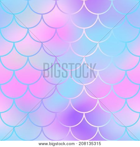 Girlish fish scale pattern with color mesh background. Mermaid vector seamless pattern. Aquatic surface design. Smooth color mesh tile. Marine animal skin ornament. Aquatic pattern. Magic mermaid tail