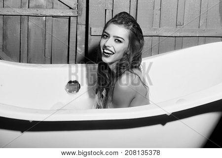 Smiling Woman In Bath