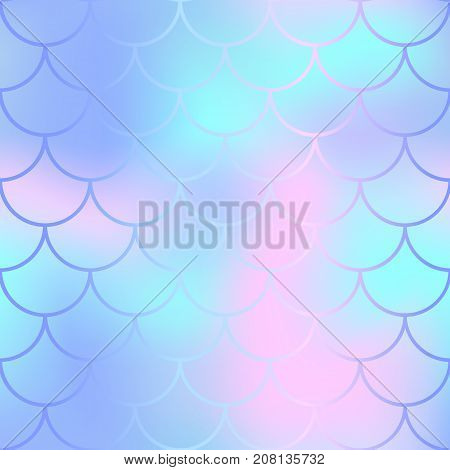 Fish scale pattern with candy color mesh background. Mermaid vector seamless pattern. Aquatic surface design. Smooth color mesh tile. Marine animal skin ornament. Aquatic pattern. Magic mermaid tail