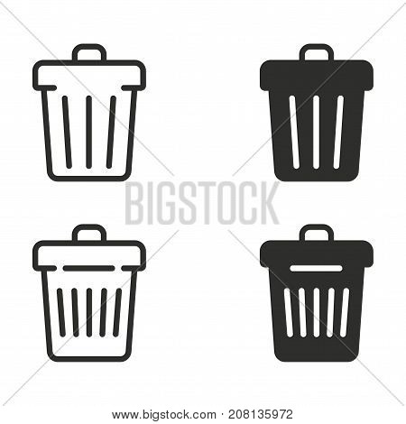 Trash can vector icons set. black Illustration isolated for graphic and web design.