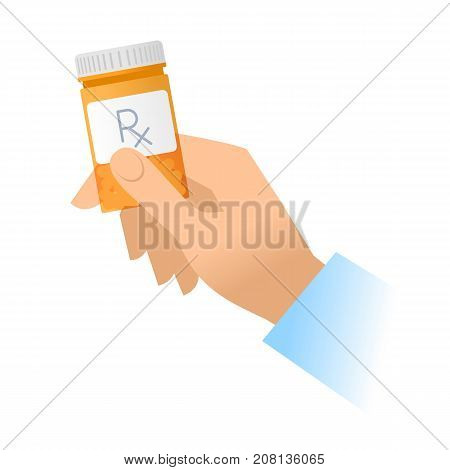 Human hand holds orange pills container. Flat illustration of doctor's hand bottle with cure and drug. Medicine, medical exam and diagnosis concept. Vector design elements isolated on white background.