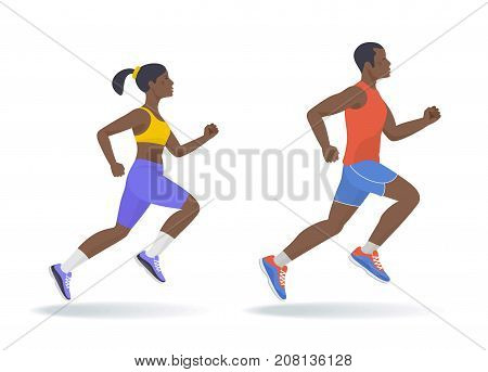 The running afro american active people set. Side view of sporty running young man and woman in a sportswear. Sport, jogging, fitness, training concept. Flat vector illustration isolated on white.