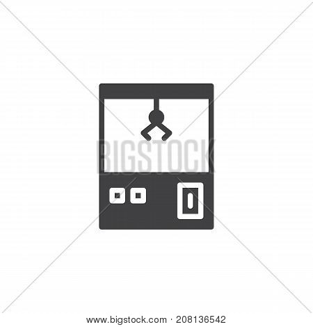 Carnival toy claw crane arcade machine icon vector, filled flat sign, solid pictogram isolated on white. Symbol, logo illustration.