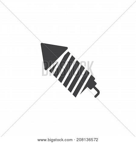 Fireworks rocket icon vector, filled flat sign, solid pictogram isolated on white. Symbol, logo illustration.