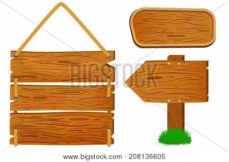 Cartoon wooden sign and banners. Rustic wooden arrow sign vector illustration on white background. Timber texture in cartoon style. Handdrawn wooden banners clipart. Countryside decor element isolated