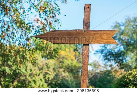 Langdales wooden arrow footpath sign. Arrow pointing left. Blue sky and green park trees