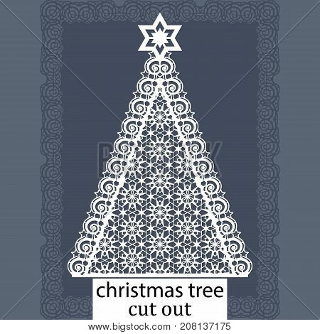 Christmas tree - a template for laser cutting. Design element for a Christmas and New Year invitation or greeting card. Can be cut from paper or another plate. Vector.