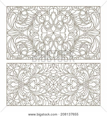 Set contour illustrations of stained glass with abstract swirls and flowers horizontal orientation