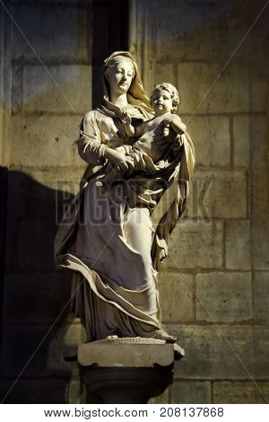 Virgin Mary Statue In Notre Dame De Paris Cathedral