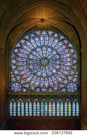 North Rose Stained Glass Window Inside Notre Dame De Paris Cathedral