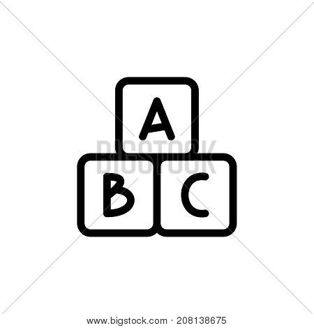 Alphabet cubes thin line icon. Outline symbol baby developing game for the design of children's webstie and mobile applications. Outline stroke kid cute block pictogram.