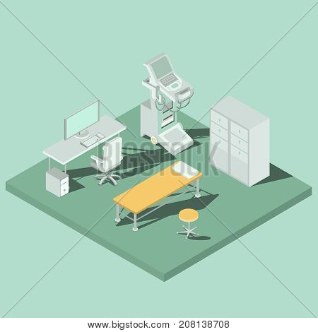 Medical cabinet with sonography equipment for ultrasound research, doctor work desk with computer and couch for patient isometric projection vector illustration. Technologies for diseases diagnosis