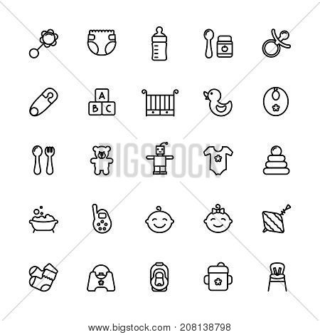 Baby care thin line icon set. Outline stroke feeding, game, bathing pictograms. Bottle, nipple, crib, booties and other baby accessories.
