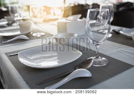 close up of dinning table in the restaurant