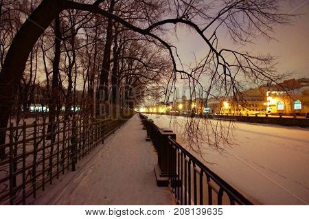 embankment of the Fontanka River near the island Summer Garden in winter