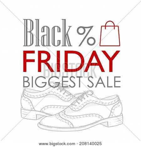 Vector sticker, black friday shoes sale, hand drawn womens oxfords sketch