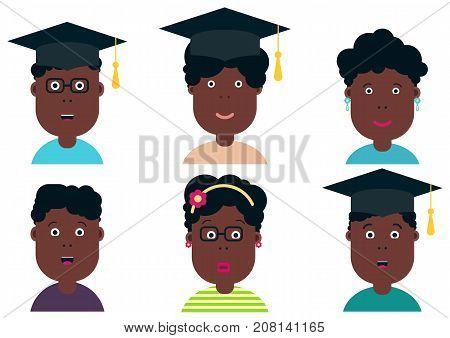 African american children, students. Graduation class. School Boys and Girls vector illustration. Graduation students vector set