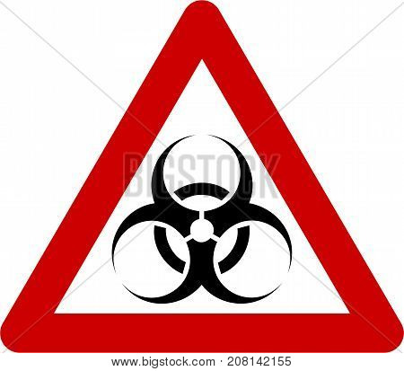 Warning sign with biohazard substances symbol on white background