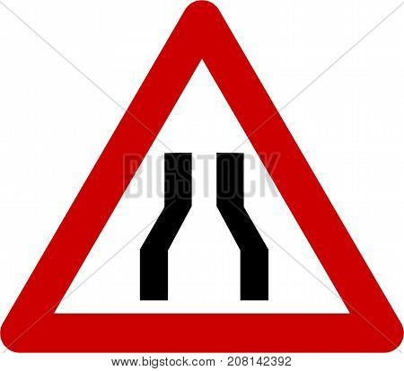 Warning sign with narrow road symbol on white background