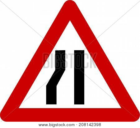 Warning sign with narrow road on left symbol on white background