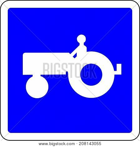 Tractor allowed blue road sign on white background