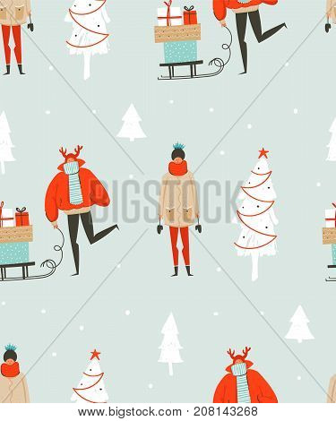 Hand drawn vector abstract fun Merry Christmas time illustration seamless pattern with people in winter clothing, many surprise gift boxes on sleigh and xmas trees isolated on blue background.